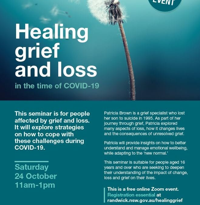 Zoom Seminar for people affected by Grief and Loss Saturday 24th of October